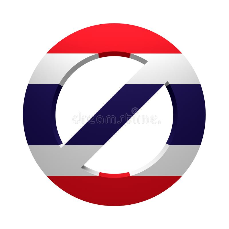 Prohibition sign painted flag Thailand. Isolated on white. 3d rendering royalty free illustration