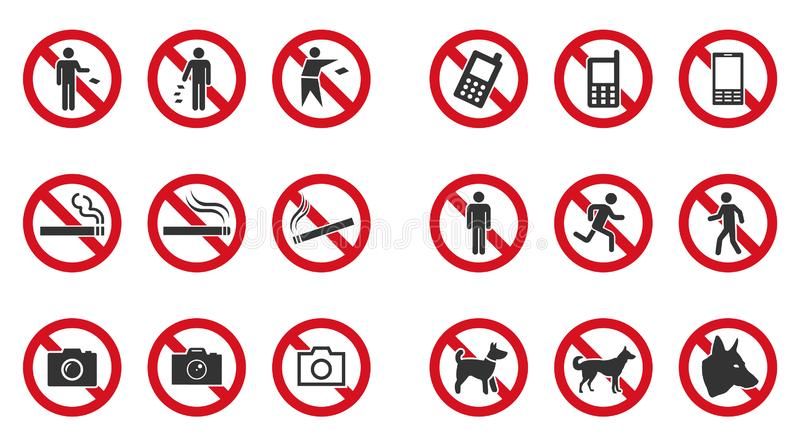 Prohibition sign set - no phone, no littering, no entry etc. Prohibition sign set - no smoke, no dogs, no phone etc stock illustration