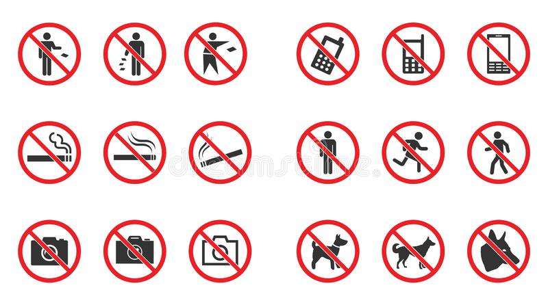 Prohibition sign set - no smoke, no dogs allowed, no photo etc. Prohibition sign set - no phone, no littering, no entry etc stock illustration