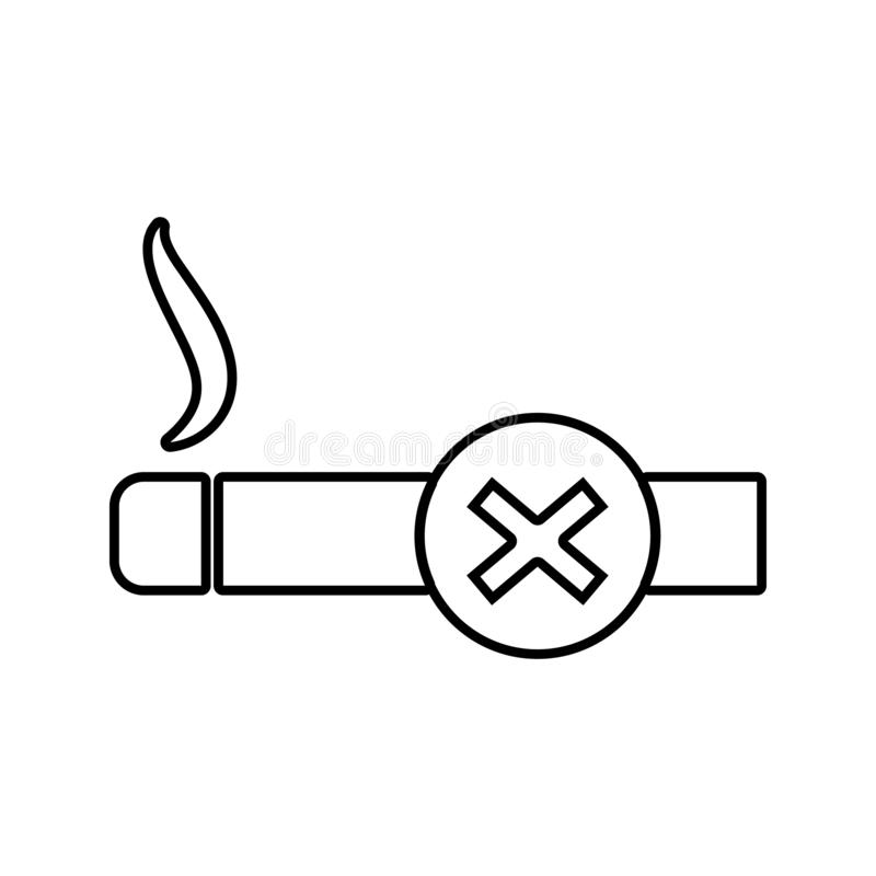 A prohibition sign smoking icon. Element of cyber security for mobile concept and web apps icon. Thin line icon for website design. And development, app vector illustration