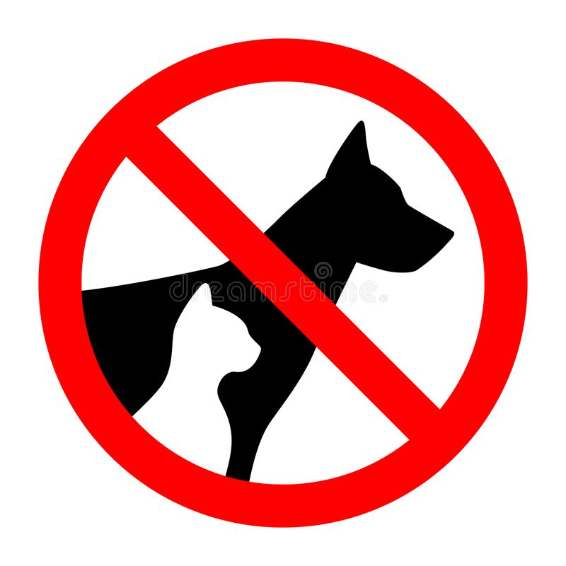 Prohibition sign stop pet dog and cat simple animals silhouette stock illustration