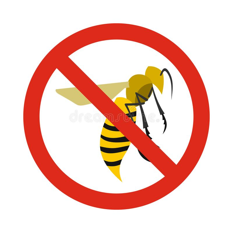 Prohibition sign wasps icon, flat style. Prohibition sign wasps icon in flat style isolated on white background. Warning symbol royalty free illustration
