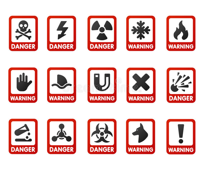 Prohibition signs set industry production vector yellow red warning danger symbol forbidden safety information and. Prohibition signs set industry production vector illustration