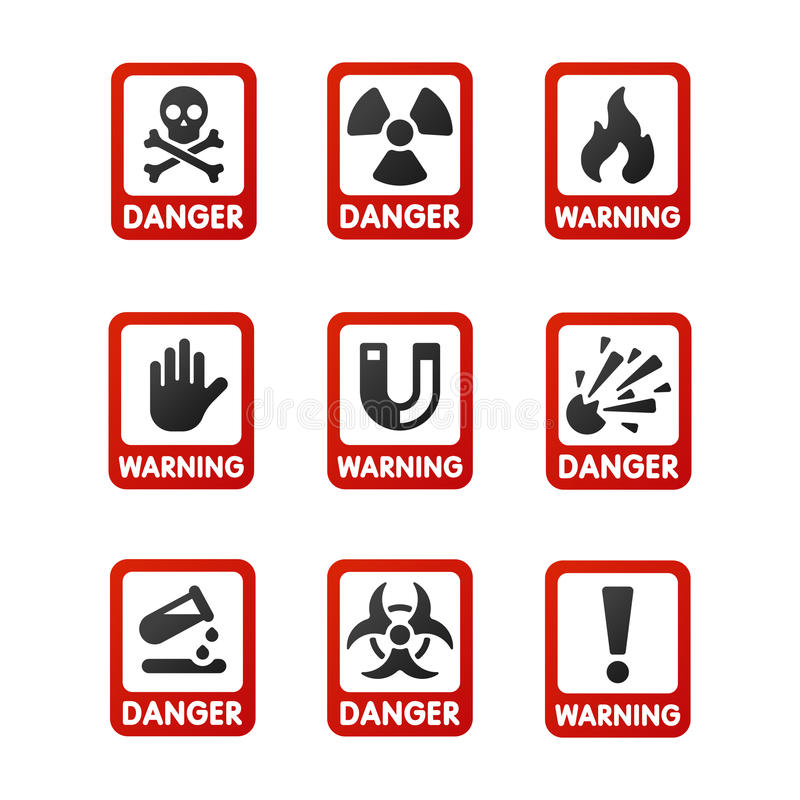 Prohibition signs set industry production vector yellow red warning danger symbol forbidden safety information. Prohibition signs set industry production vector stock illustration
