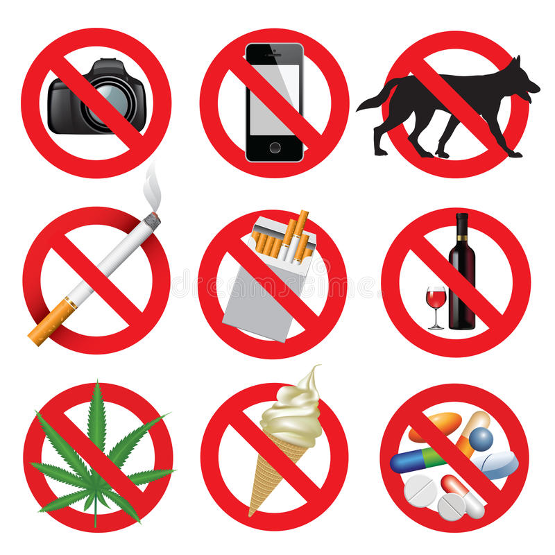 Prohibition signs. Set of prohibition signs isolated on white. Vector illustration vector illustration