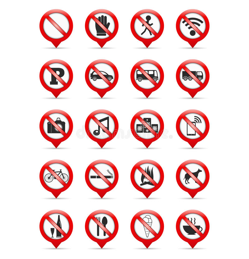 Prohibition Signs. Set of map pins with prohibition signs vector illustration