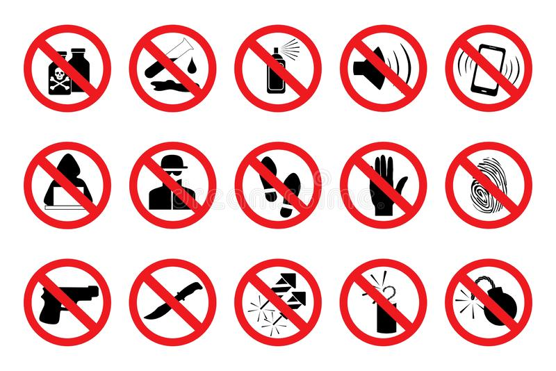 Prohibition Signs. Set red icons. Vector royalty free illustration