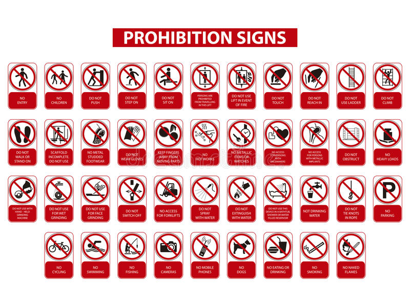 Prohibition signs vector illustration