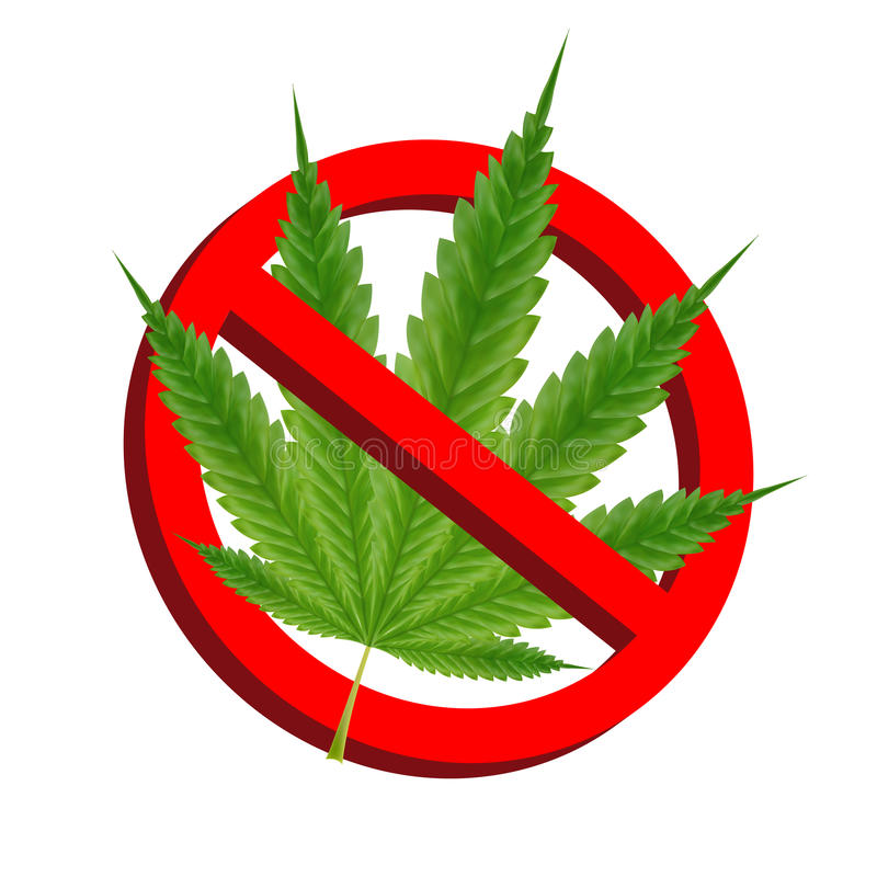 Free Prohibition Signs With Green Marijuana Leaf Vector Stock Photo - 95947910