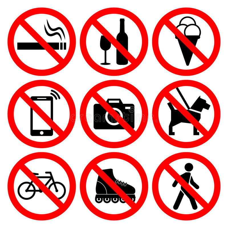 Prohibition symbols set. Nine most popular signs: no smoking, no alcohol, no icecream, no phone calls, no photos, no dogs, no biking, no roller skating, do not stock illustration