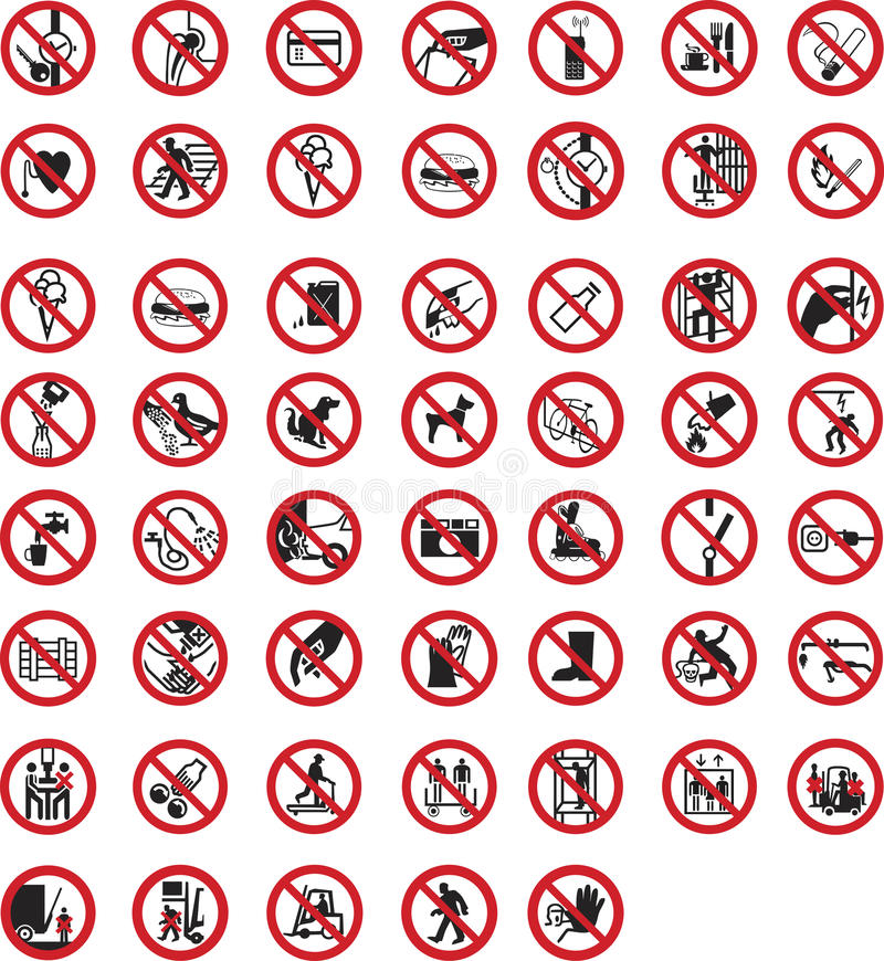 Prohibition tables. And allowance symbols vector illustration