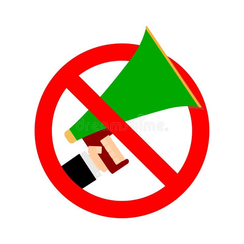 Prohibition to share false news and ban noise. Vector prohibition megaphone icon, not sound speaker, warning communication ban loudspeaker illustration vector illustration