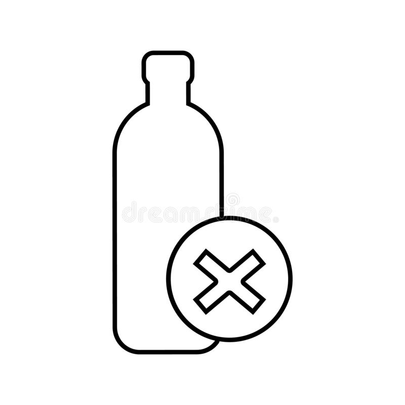 The prohibition on the transportation of bottles icon. Element of cyber security for mobile concept and web apps icon. Thin line. Icon for website design and stock illustration