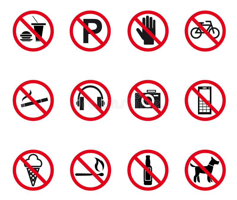 Prohibition and warning signs. Set. Vector illustration vector illustration