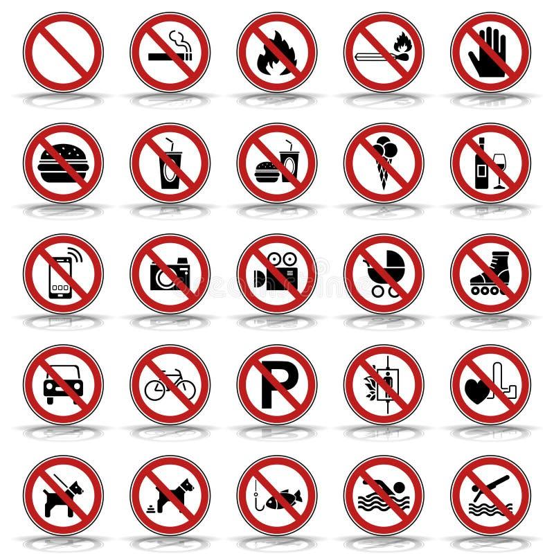 25 Prohibition & Warning Signs - Iconset vector illustration