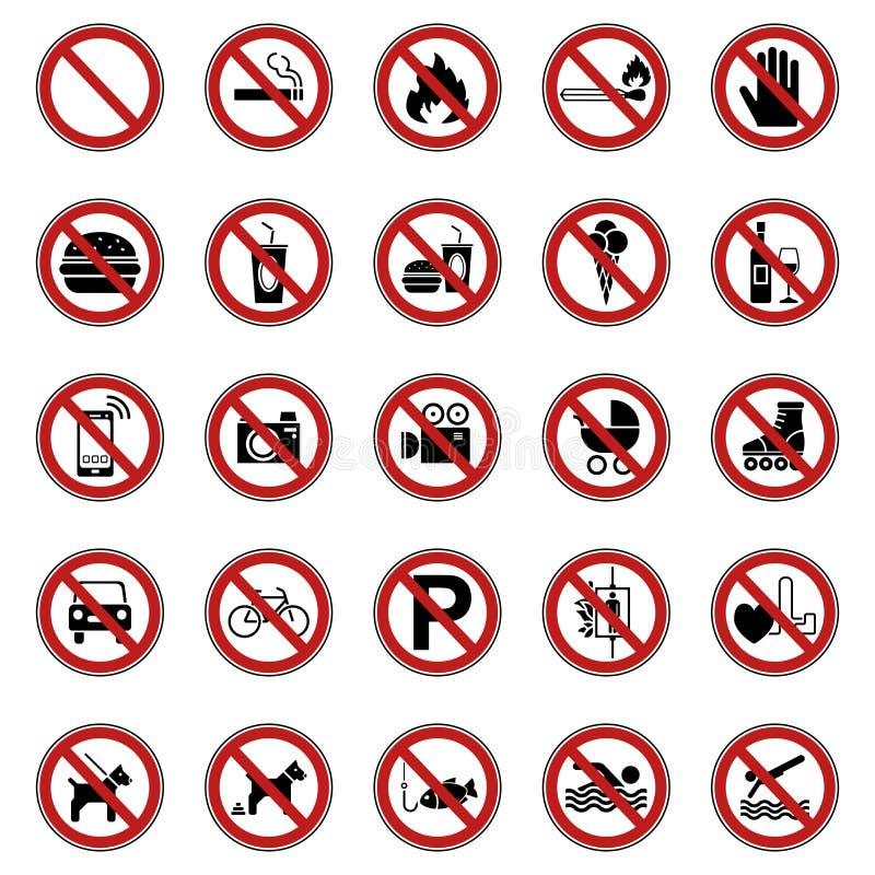 25 Prohibition & Warning Signs - Iconset stock illustration