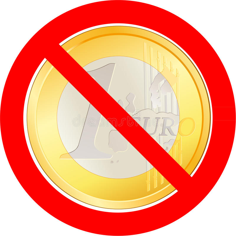 Prohibitory road sign with Euro coin stock illustration