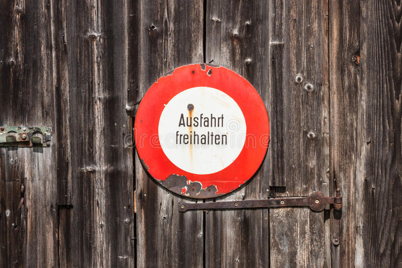 Prohibitory sign in german. Ausfahrt freihalten (keep exit clear royalty free stock image