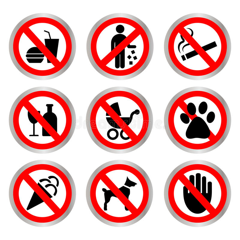 Prohibitory signs. vector illustration