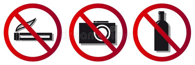 Prohibitory signs, no smoking, no camera royalty free illustration
