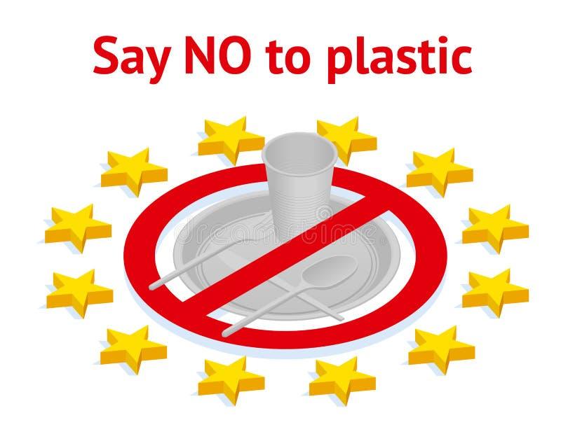 Proiba o uso de utensílios plásticos na União Europeia Diga n?o ao pl?stico Polui??o ambiental ambiental ilustração do vetor
