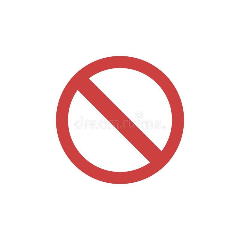 Proibição, ícone liso da limitação ilustração do vetor