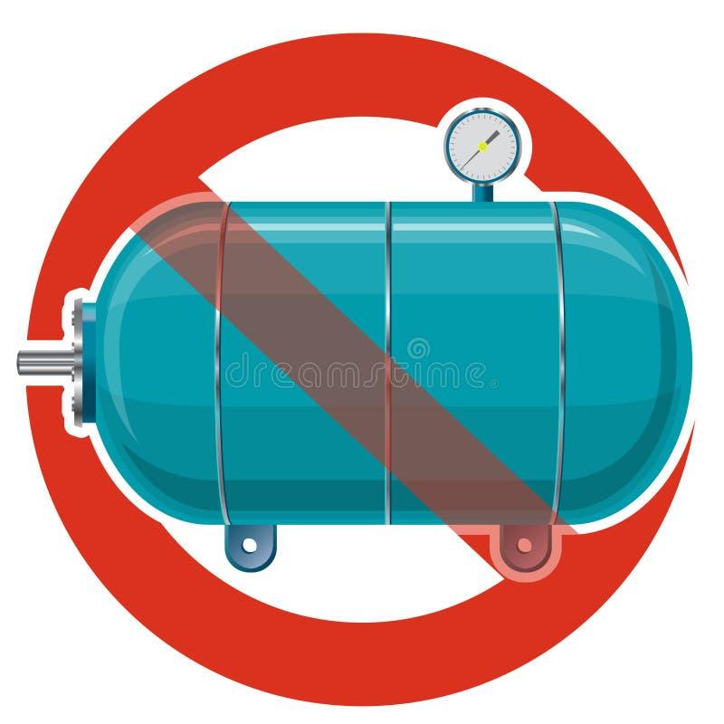 Proibição da embarcação para a água, gás, ar Proibição restrita na construção do tanque de pressão para o armazenamento material ilustração royalty free
