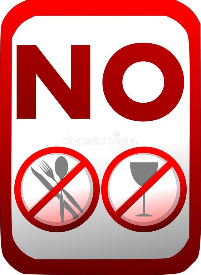 Proibição da introdução de alimento e de bebidas no vermelho isolados ilustração stock