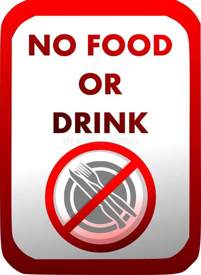 Proibição da introdução de alimento e de bebidas no vermelho isolados ilustração royalty free