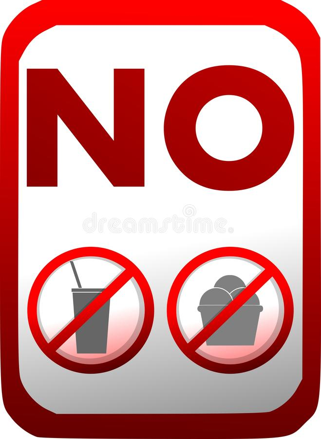 Proibição da introdução de alimento ou de bebidas no vermelho isolado ilustração stock