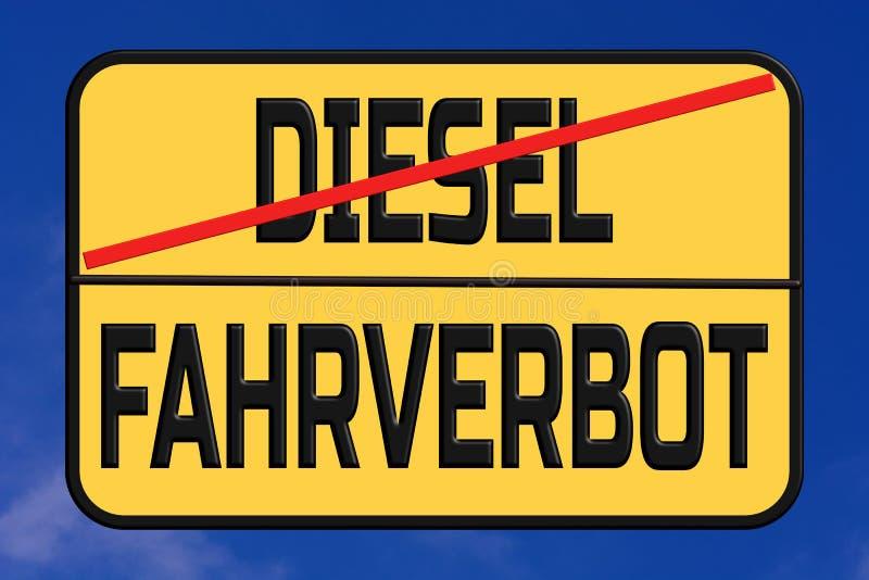 Proibição de condução diesel no login da rua da cidade alemão ilustração royalty free