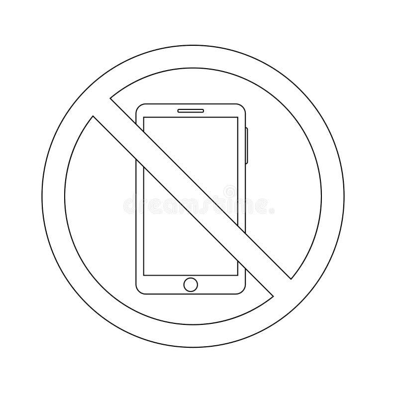 Proibição do ícone do esboço de usar um smartphone vetor do conceito do telefone ilustração do vetor