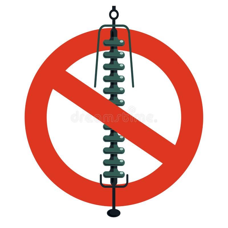 Proibição do componente cerâmico da isolação, fiação elétrica Proibição restrita na construção de pilões bondes ilustração stock