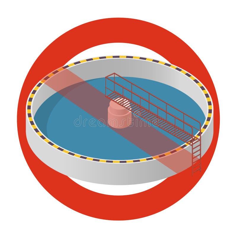 Proibição do tratamento da água A proibição restrita na construção da fábrica do purificador da bactéria, proibe ilustração stock