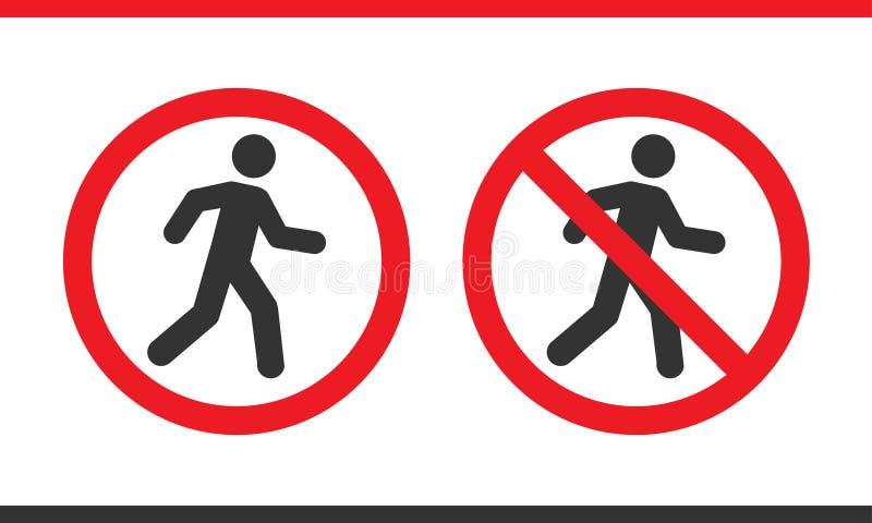 Proibição do vetor nenhum sinal dos pedestres ilustração stock