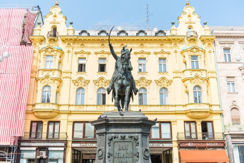 Proibição Josip Jelacic Monument em Zagreb, Croácia foto de stock