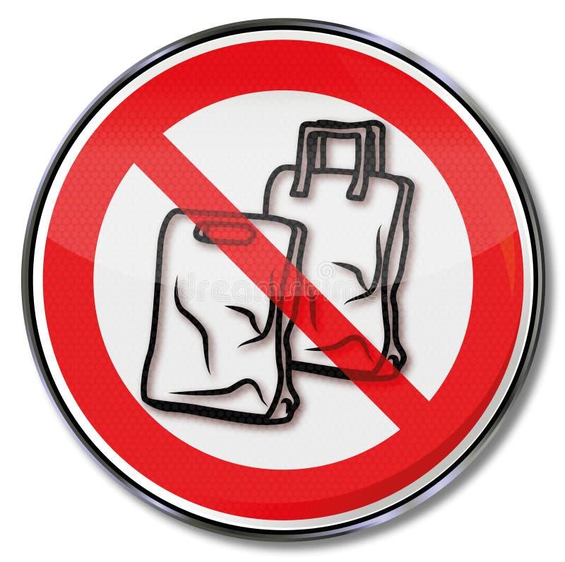 Proibição para sacos de plástico ilustração royalty free