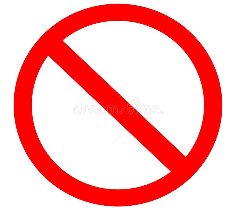 Proibição simples em branco símbolo proibido do sinal ilustração stock