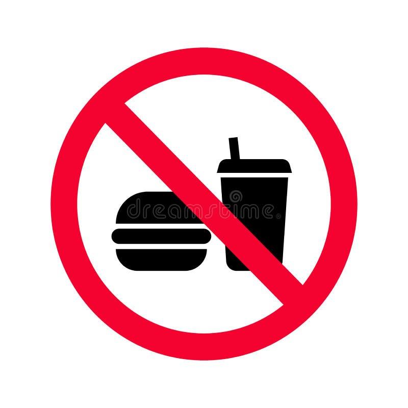 Proibição vermelha nenhum alimento ou sinal das bebidas Nenhuns comer e beber proibido cantam ilustração stock