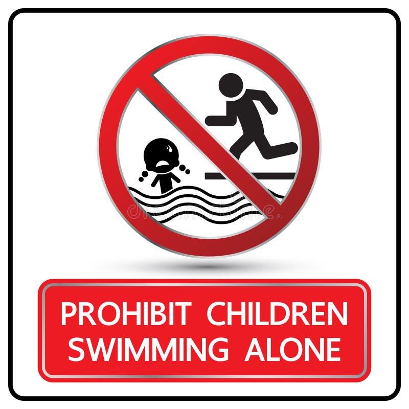 Proibisca i bambini che nuotano il vettore solo del segno royalty illustrazione gratis