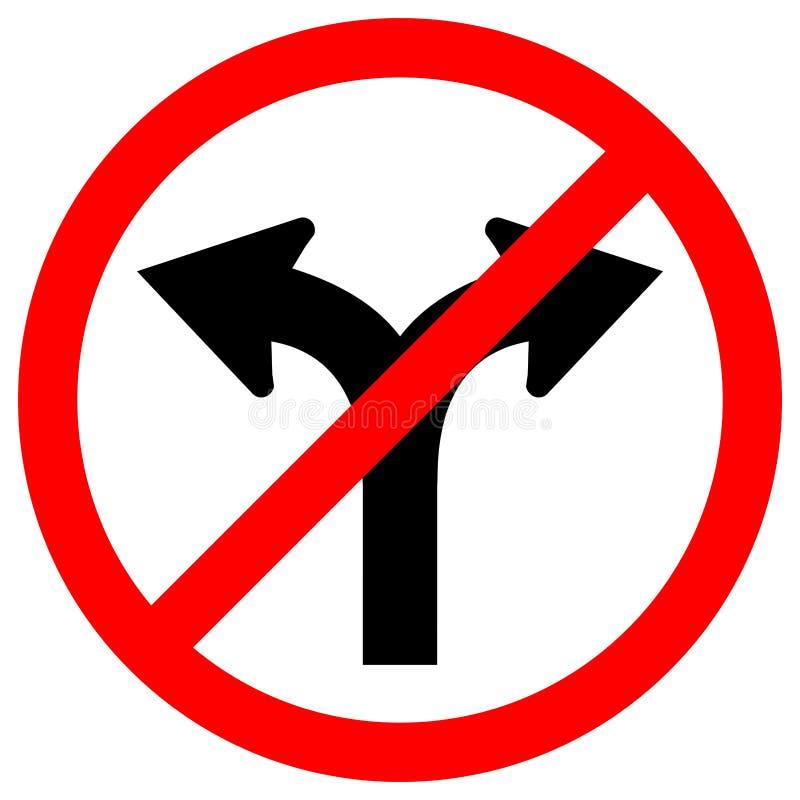 Proibisca la strada della forcella non girano giusto o girano l'isolato sinistro del segno di simbolo di traffico su fondo bianco royalty illustrazione gratis