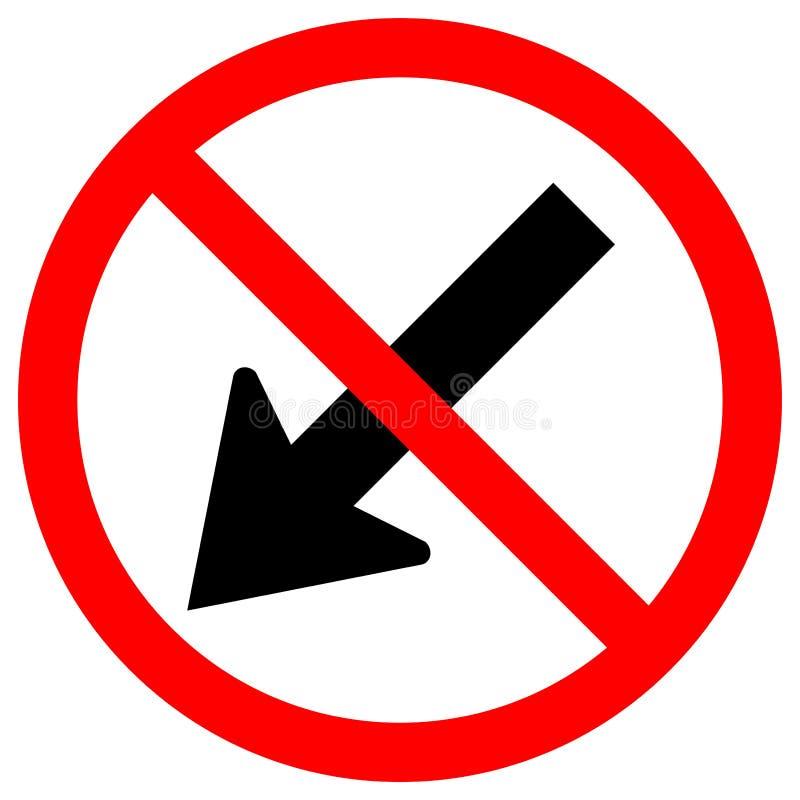 Proibisca tengono la sinistra dall'isolato rosso del segno di simbolo della strada di traffico del cerchio della freccia su fondo illustrazione vettoriale