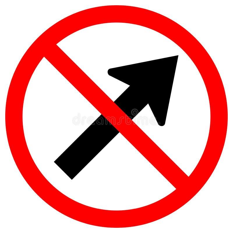 Proibisca vanno alla destra dall'isolato del segno di simbolo della strada di traffico della freccia su fondo bianco, l'illustraz illustrazione di stock
