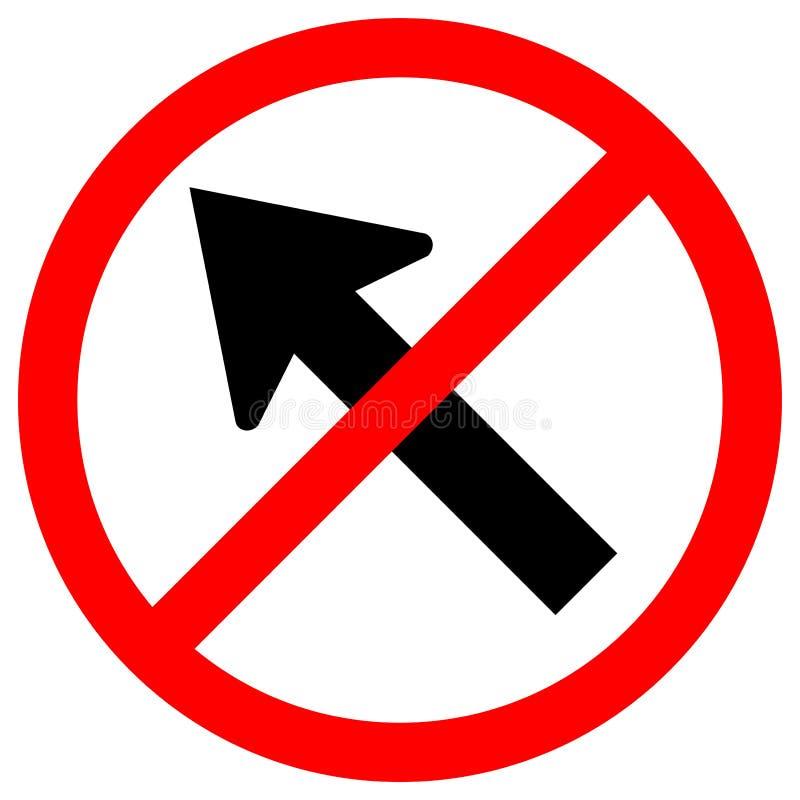 Proibisca vanno a sinistra dall'isolato del segnale stradale di traffico della freccia su fondo bianco, l'illustrazione ENV di ve illustrazione di stock