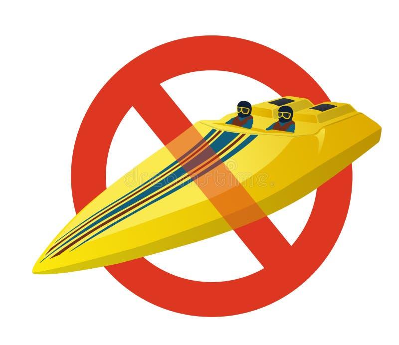 Proibizione della barca di sport della corsa Divieto rigoroso di motoscafo della costruzione royalty illustrazione gratis