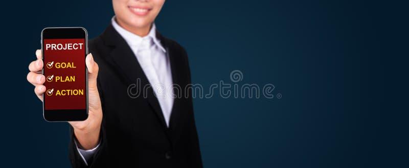 Proietti il concetto, il progetto felice del testo di Show della donna di affari - lo scopo Pl fotografia stock libera da diritti