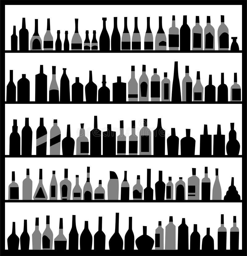 Proietti le bottiglie dell'alcool illustrazione di stock