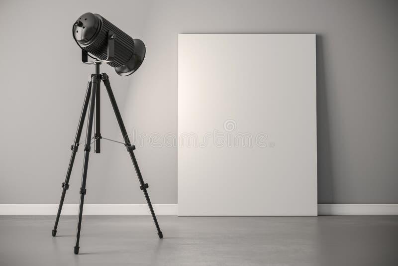 proiettore di luce dello studio 3d e struttura della tela illustrazione vettoriale