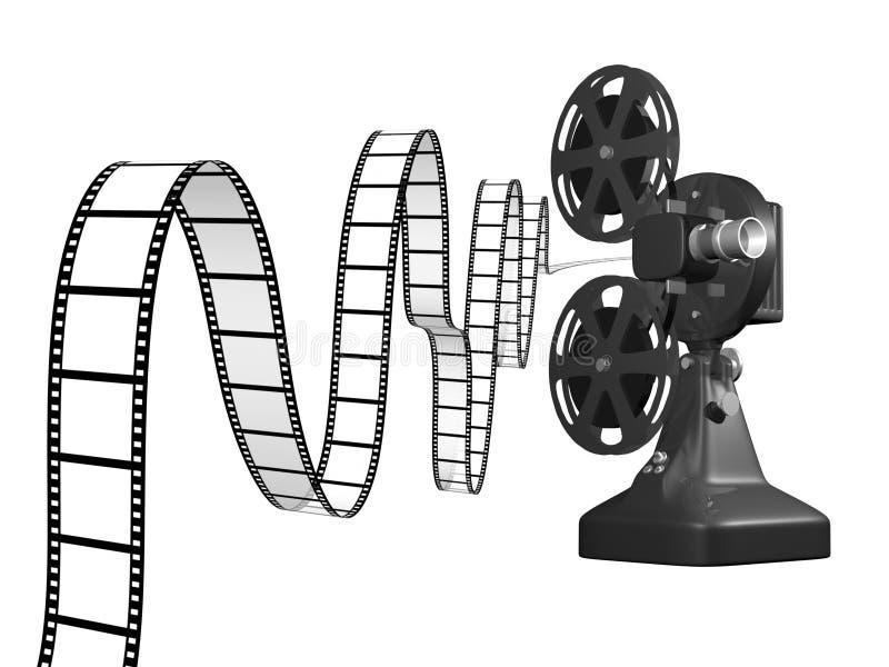Proiettore di pellicola con la pellicola illustrazione vettoriale