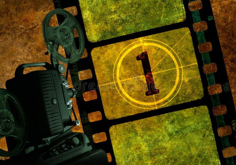 Proiettore di pellicola di numero uno illustrazione vettoriale